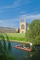 Punts on the river Cam at King's college in Cambridge, England