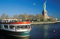 Circle Line Boat at the Statue of Liberty, New York City, New York