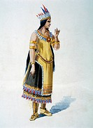 Wife of Native American Chief, Watercolor Painting by William L. Wells fo the Columbian Exposition Pageant, 1892
