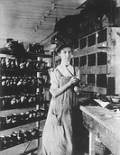 Woman Working in Shoe Factory, Circa 1895