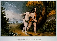 Adam and Eve Driven Out of Paradise, Nathaniel Currier, Lithograph