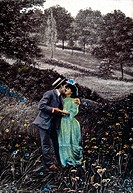 Man Kissing Woman in Field, Postcard, Circa 1910