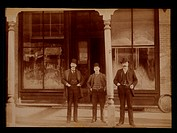 Three Men Standing in Front of Liquor Store, Aylmer, Ontario, Canada, 1900