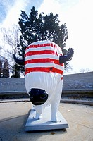 Bison painted with American flag, Community art project, Winter Olympics, state capitol, Salt Lake City, UT