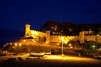 Vila Vella historic district at night, Tossa de Mar, Costa Brava, Catalonia, Spain, Europe, PublicGround