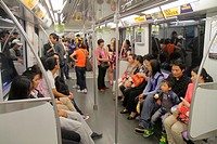 China, Shanghai, Yangpu District, Tongji University Metro Station, subway, public transportation, Lavender Line 10, Asian, woman, mother, man, father,...