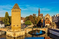 'Ponts Couverts' bridge and cathedral Strasbourg Alsace France