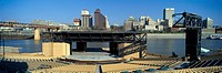Amphitheatre on island in middle of Mississippi River looking at Memphis, TN skyline