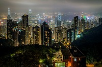 City skyline at dusk from the summit of Victoria Peak, Hong Kong, China