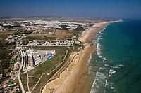 Conil de la Fontera´s coast  Conil de la Frontera behind  Vejer de la Frontera, Caños de Meca, Breña´s hill and Trafalgars cape in the background Cádi...