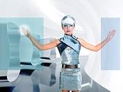 futuristic children girl in silver touch finger copyspace glass holographic screen