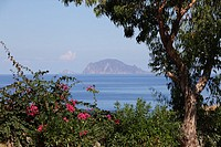 Lipari seen from Salina Island, Aeolian Islands, Sicily, Italy