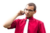 Portrait of young confident businessman phone call