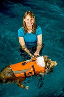 A registered veternary technician in Oceanside, CA, exercises a dog in a special pool following a hip operation. Note special flotation jacket