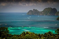 Phi Phi Leh island from a viewpoint in Phi Phi Don island  Krabi province, Andaman Sea, Thailand