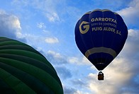 Hot air balloons in Garrotxa Natural Park,Girona province  Catalonia  Spain