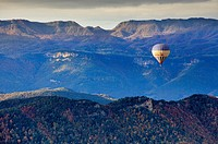 On balloon over Garrotxa Natural Park,Girona province  Catalonia  Spain