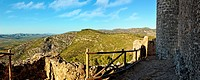 Top view from the old castle to the mountains. Alcala de Xivert in Spain.