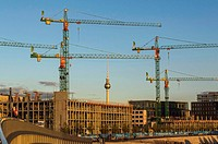 Cranes at construction site in Berlin, Germany