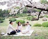 Family including girl 12_13 sitting in park under full bloomed cherry blossom