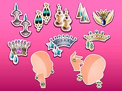 Jewelry, tiaras, earrings, bracelet and ring, vector illustration