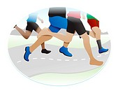 Running, legs of several runners, vector illustration