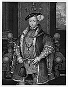 King of England and Ireland, 1547_1553. Line engraving after a painting by Hans Holbein the Younger, c1553.