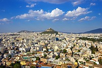 Aerial view of Athens towards Lycabettus Hill