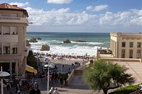 THE PROMENADE ON THE GRANDE PLAGE BEACH, CASINO, ART DECO ARCHITECTURE, BIARRITZ, PYRENEES ATLANTIQUES, 64, FRANCE, BASQUE COUNTRY, BASQUE COAST