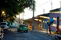 Street scene in the historical center of Arraial d'Ajuda, Bahia, Brazil, South America