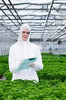 Germany, Bavaria, Munich, Scientist examining parsley plants in greenhouse (thumbnail)