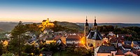 Germany, Bavaria, View of Goessweinstein Basilica and Castle at night
