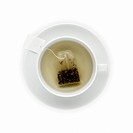 Overhead view of Tea cup with tea bag