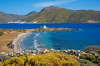 Beach and church, Agios Panteleimon, Amorgos, Cyclades, Aegean, Greek Islands, Greece, Europe