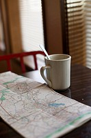 empty coffee mug with map