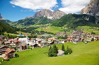 View of Corvara from cable car, Badia Valley, Bolzano Province, Trentino_Alto Adige/South Tyrol, Italian Dolomites, Italy, Europe