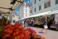 Market stall, Piazza Erbe Market, Bolzano, Bolzano Province, Trentino_Alto Adige, Italy, Europe