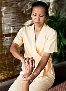 Woman Receiving Hand Massage.
