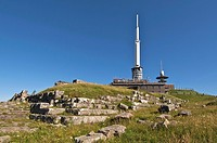 Gallo-Roman temple of Mercury with observatory behind meterological observatory on summit of Puy de Dome, Auvergne Volcanoes Regional Nature Park, Fra...