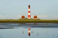 Westerheversand Lighthouse, Westerhever, Eiderstedt, North Frisia, Schleswig_Holstein, Germany, Europe