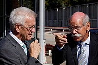 Winfried Kretschmann, Minister-President of Baden-Wuerttemberg, member of the Green party, visiting Dr. Dieter Zetsche, right, Chairman of the Board o...