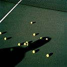 High angle view of tennis balls on a court