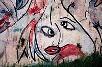 Graffiti of a human face on a wall