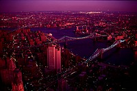 High angle view of the East River in New York City,New York,USA