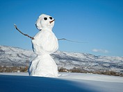 Close_up of a snowman on a hill