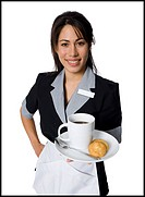 Portrait of a waitress holding a plate with a coffee cup and cookies