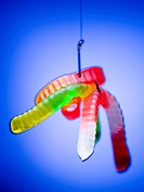 Close_up of gummy worms hanging by a fishing hook