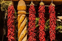 Ristras drying red chile pepper pods, El Pinto Restaurant and Cantina, Albuquerque, New Mexico USA