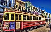 Beautiful scenic of city of Christchurch and colorful tram on Worchester Street in small quaint downtown in New Zealand in South Pacific