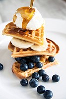 Waffles with blue berries